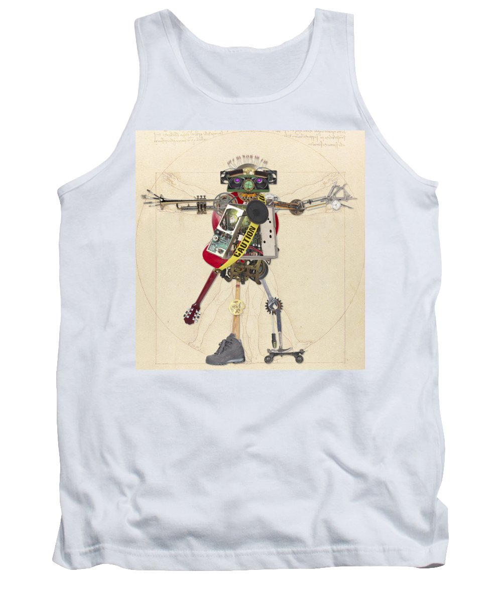 Assemblage Tank Top featuring the digital art Reconstructed Man by Merrill Miller