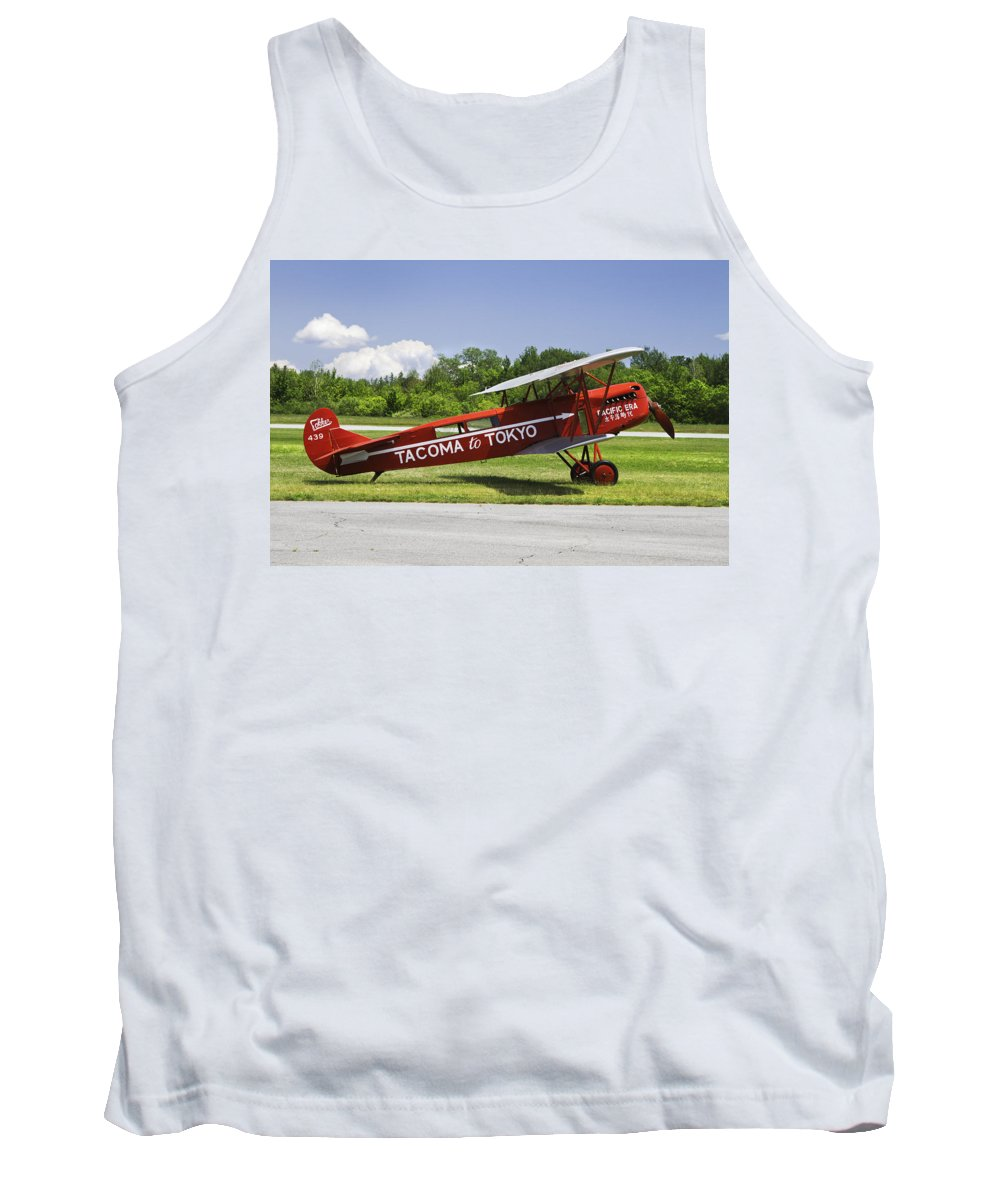 1923 Tank Top featuring the photograph Red 1923 Fokker Civa Vintage Biplane Photo Poster Print by Keith Webber Jr