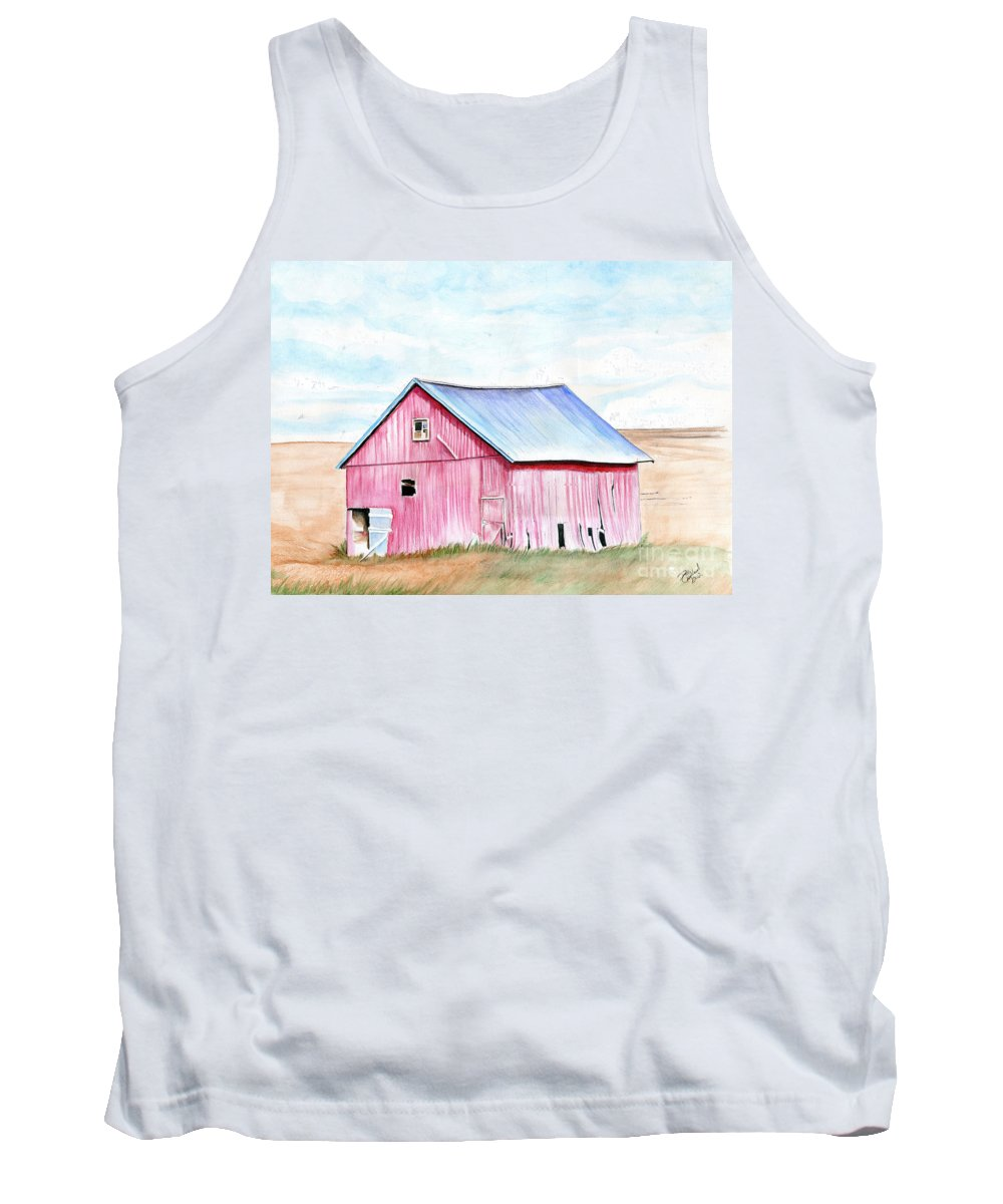 Watercolor Tank Top featuring the painting Red Barn by William Richards