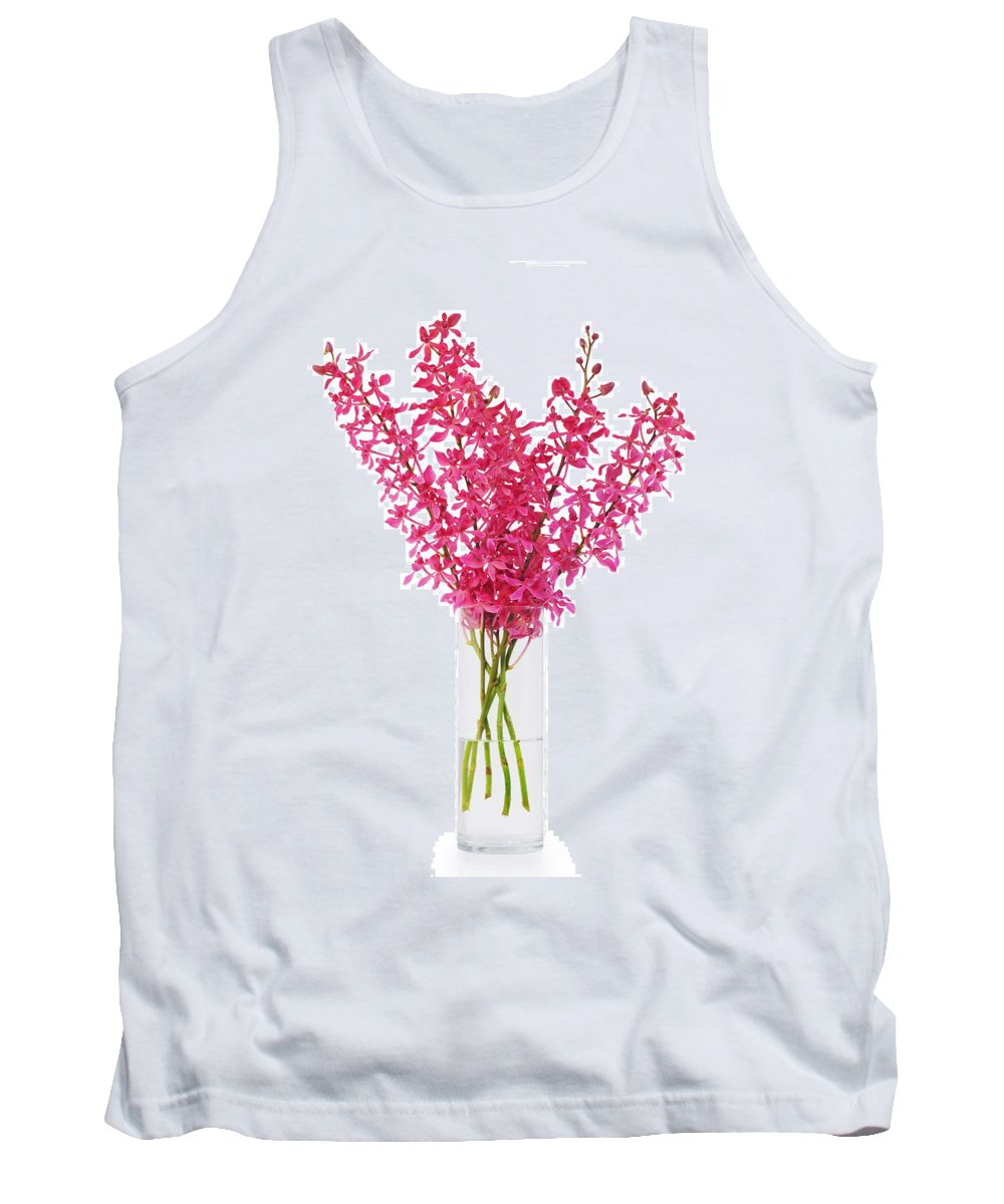 Asian Tank Top featuring the photograph Red Orchid In Vase by Atiketta Sangasaeng