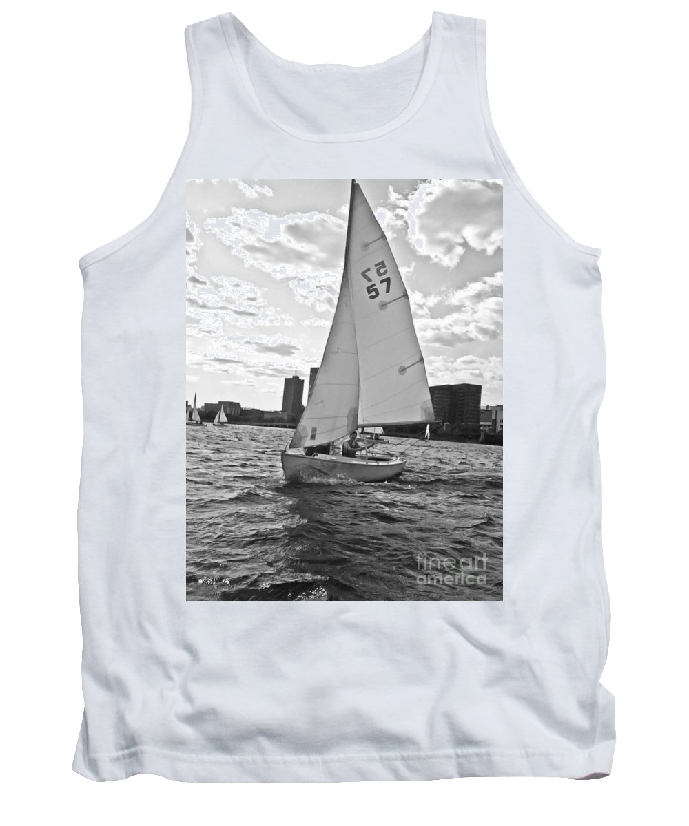 Sailing Tank Top featuring the photograph Sailing On The Charles by Scott Hervieux