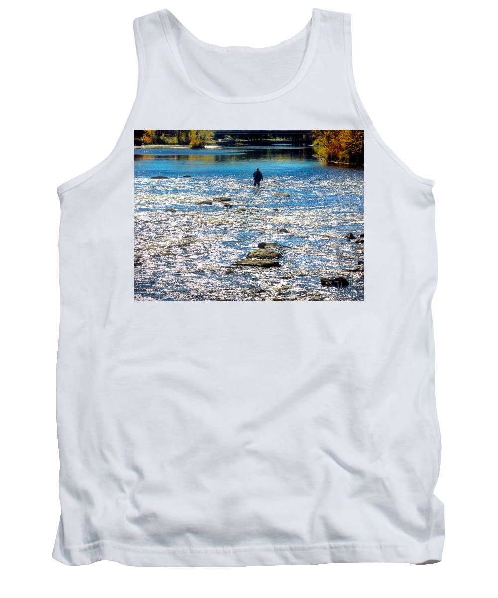 Xdop Tank Top featuring the photograph Salmon Wader by John Herzog