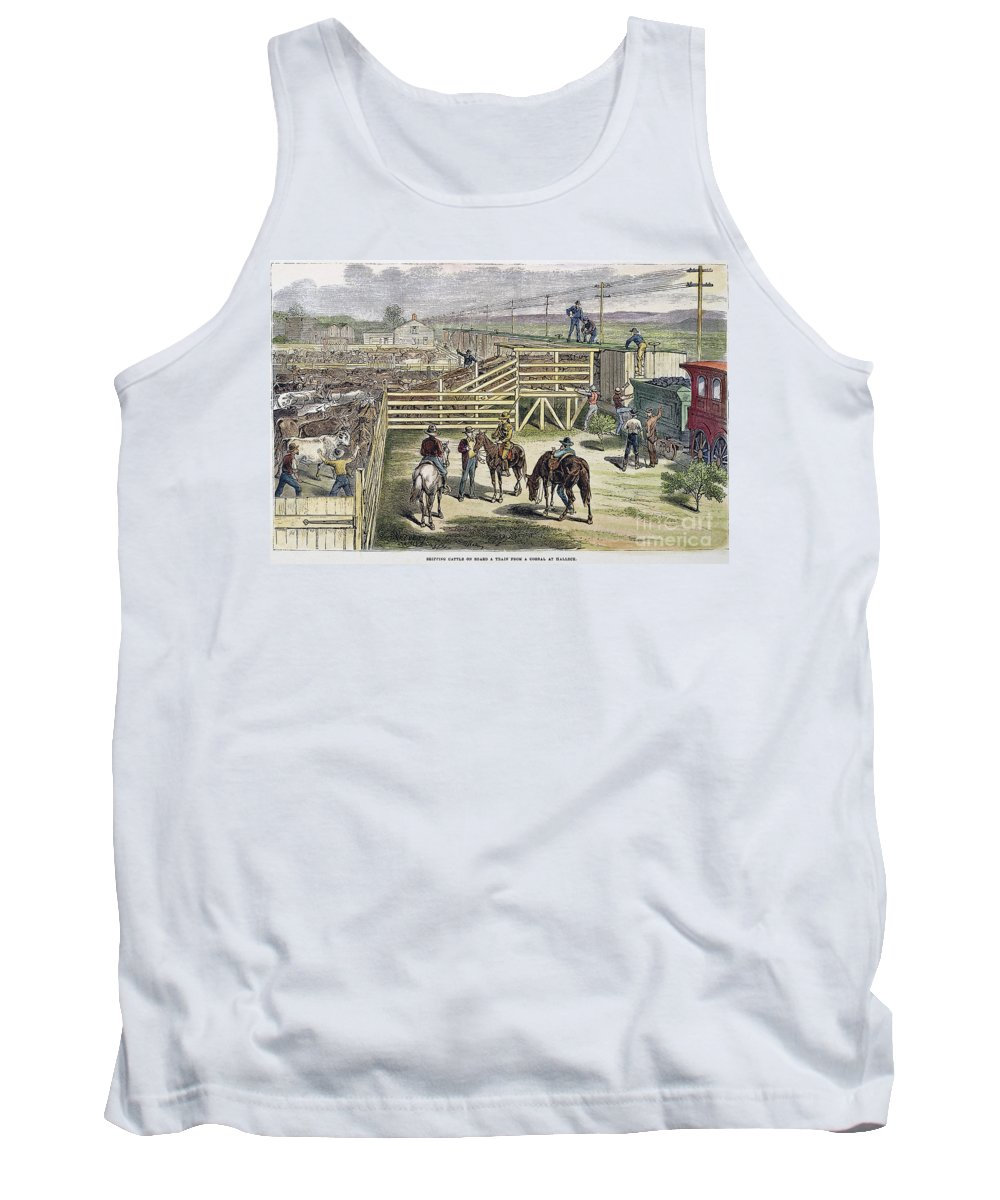 1877 Tank Top featuring the photograph Shipping Cattle, 1877 by Granger