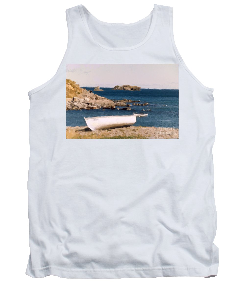 Scenery Tank Top featuring the photograph Shoreline Boat by Mary Mikawoz