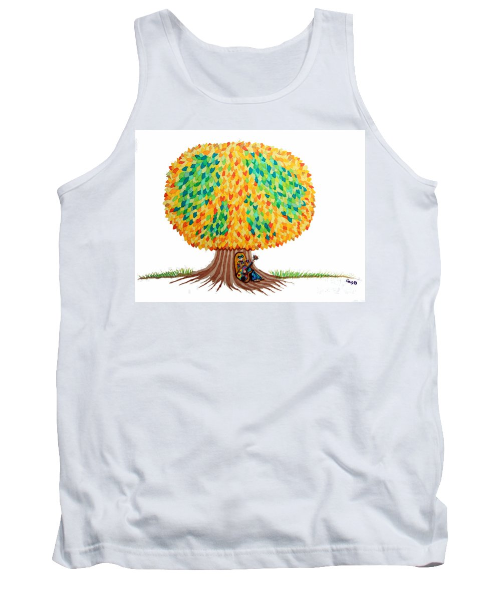 Peace Tank Top featuring the drawing Singing Under The Peace Tree by Nick Gustafson