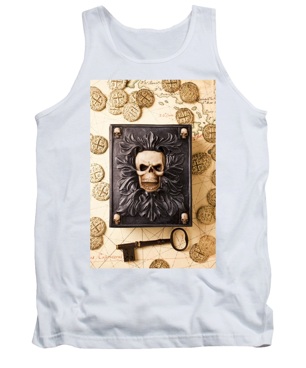 Skull Box Tank Top featuring the photograph Skull Box With Skeleton Key by Garry Gay