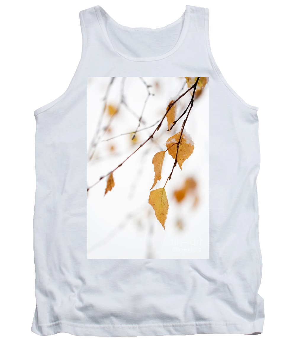 Autumn Tank Top featuring the photograph Snowing In Autumn by Kati Finell