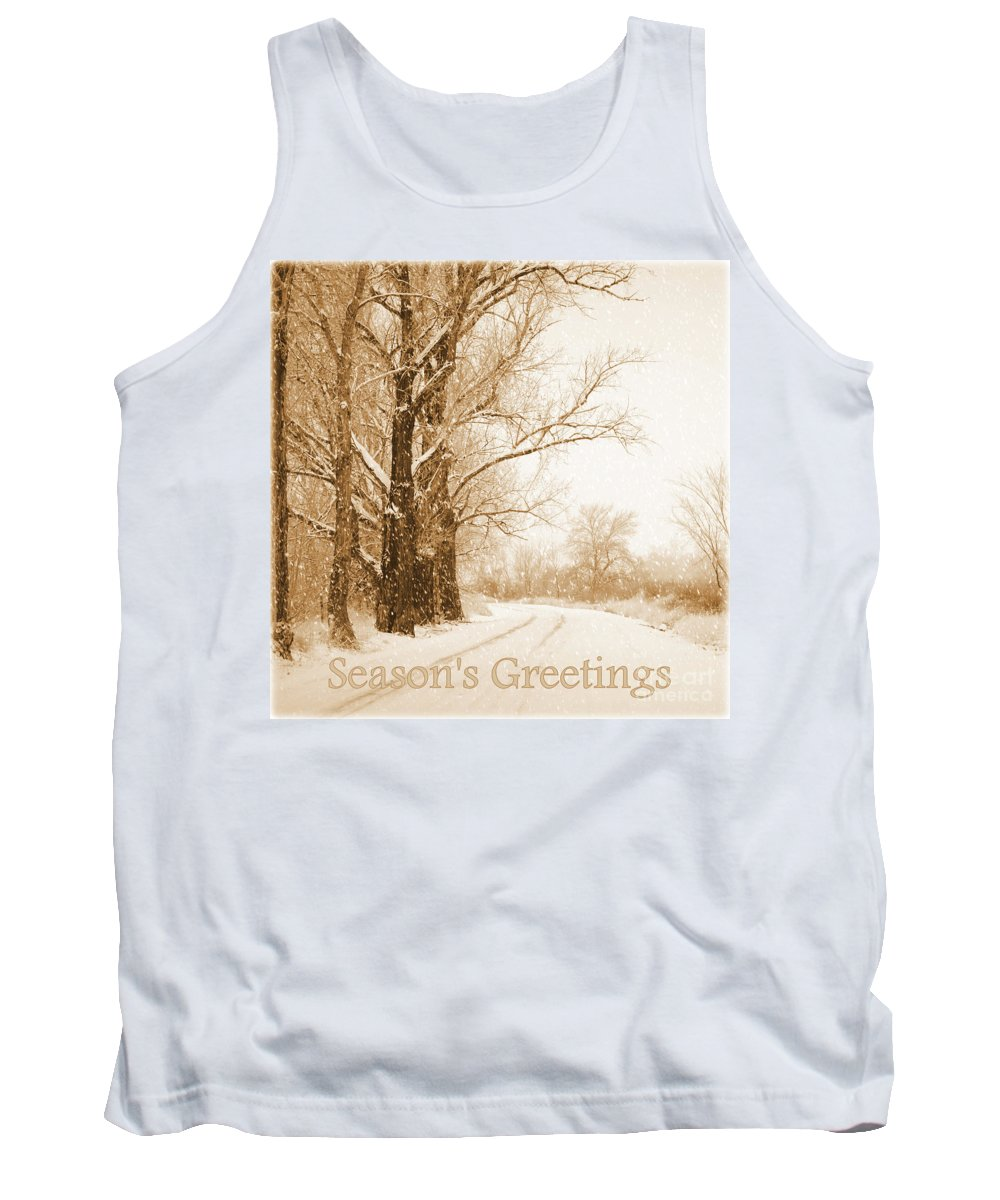 Snowy Holiday Scene Tank Top featuring the photograph Soft Sepia Season's Greetings by Carol Groenen