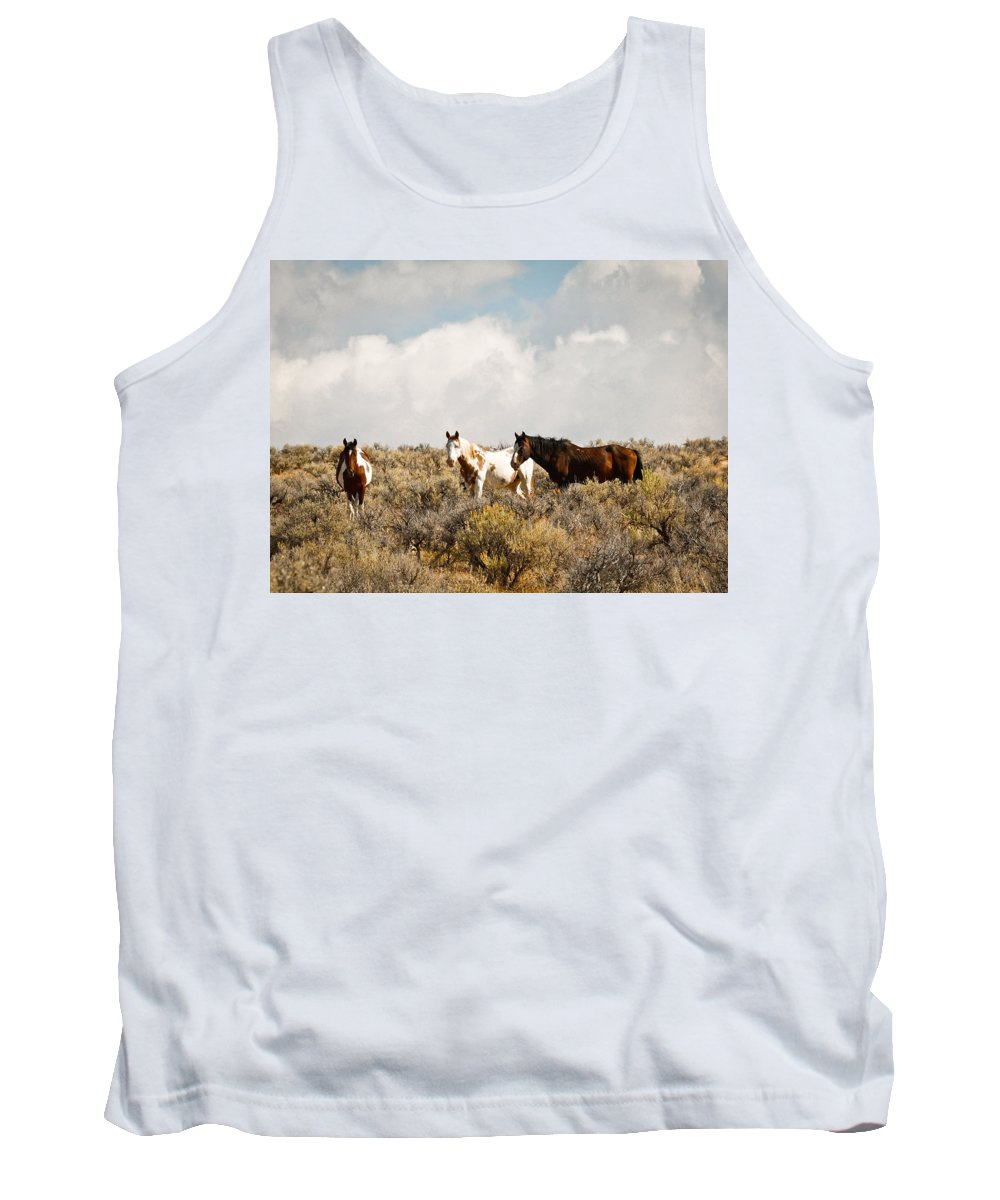 Horse Tank Top featuring the photograph Steens Wild Horses by Steve McKinzie