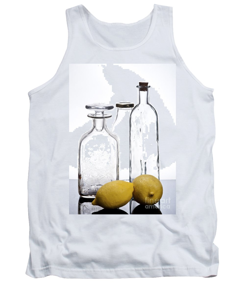 Assortment Tank Top featuring the photograph Still Life Of Bottles And Lemons by Ilan Amihai
