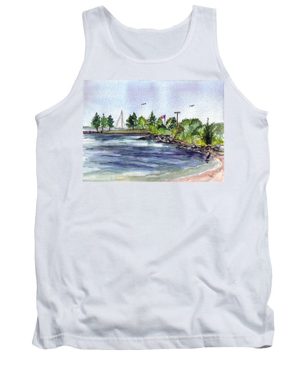 Sailboat Tank Top featuring the painting Summer Cove by Clara Sue Beym