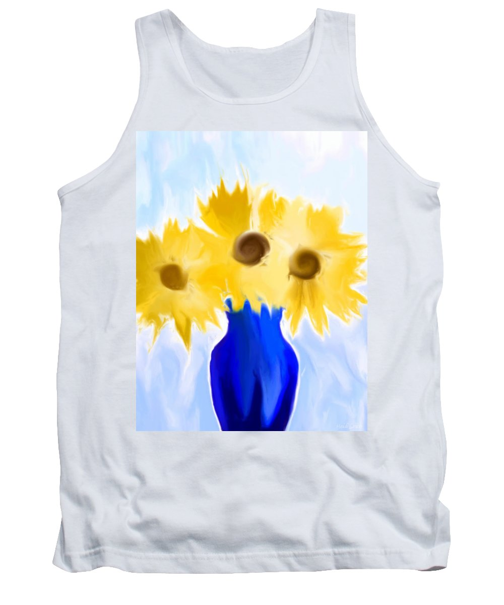 Digital Painting Tank Top featuring the painting Sunflower Fantasy Still Life by Heidi Smith
