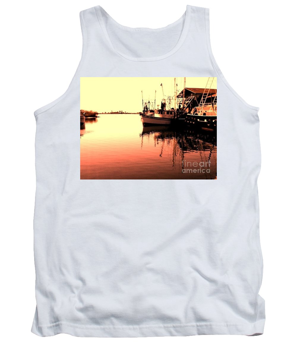 Boats Tank Top featuring the photograph Sunset by Janice Spivey