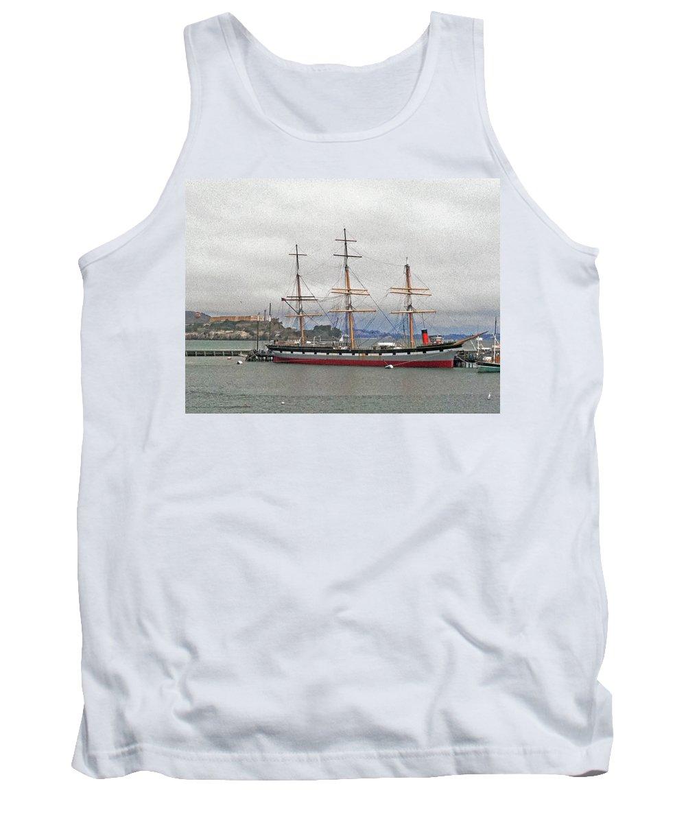 The Balclutha Ship And Alcatraz Island Tank Top featuring the photograph The Balclutha Ship And Alcatraz Island by Bill Owen