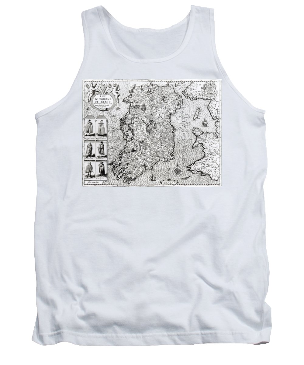 Maps Tank Top featuring the drawing The Kingdom Of Ireland by Jodocus Hondius