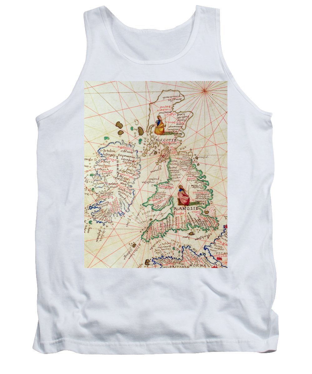 Maps Tank Top featuring the drawing The Kingdoms Of England And Scotland by Battista Agnese