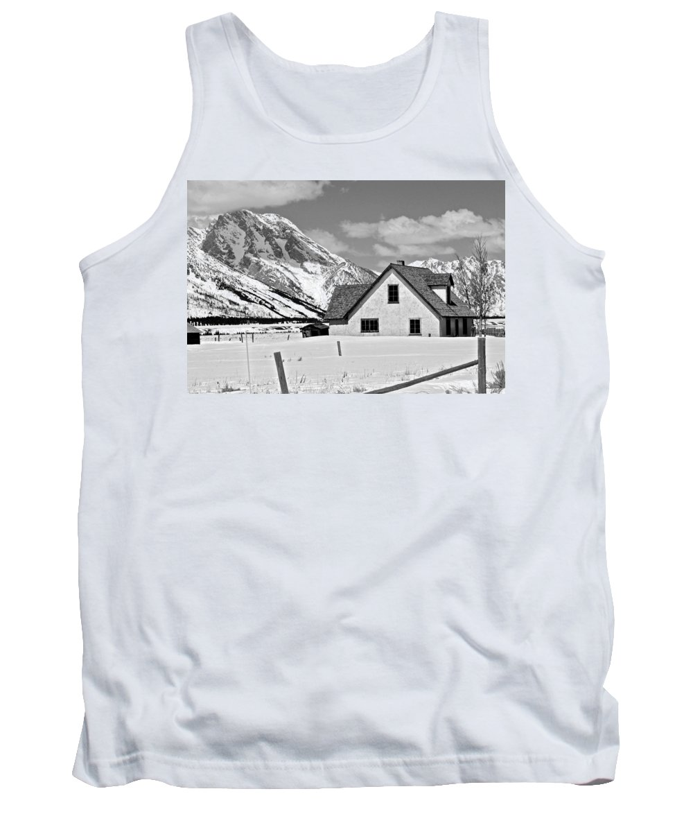 Jackson Hole Tank Top featuring the photograph The Moulton House In Winter by Eric Tressler