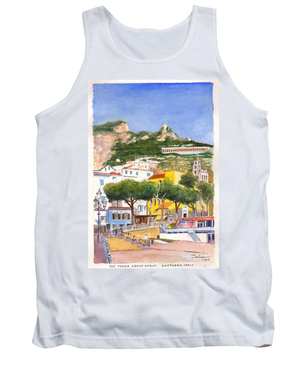 Beach Tank Top featuring the painting The Ruined Tower Above The Beach At Amalfi On The Southern Italian Coast by Dai Wynn