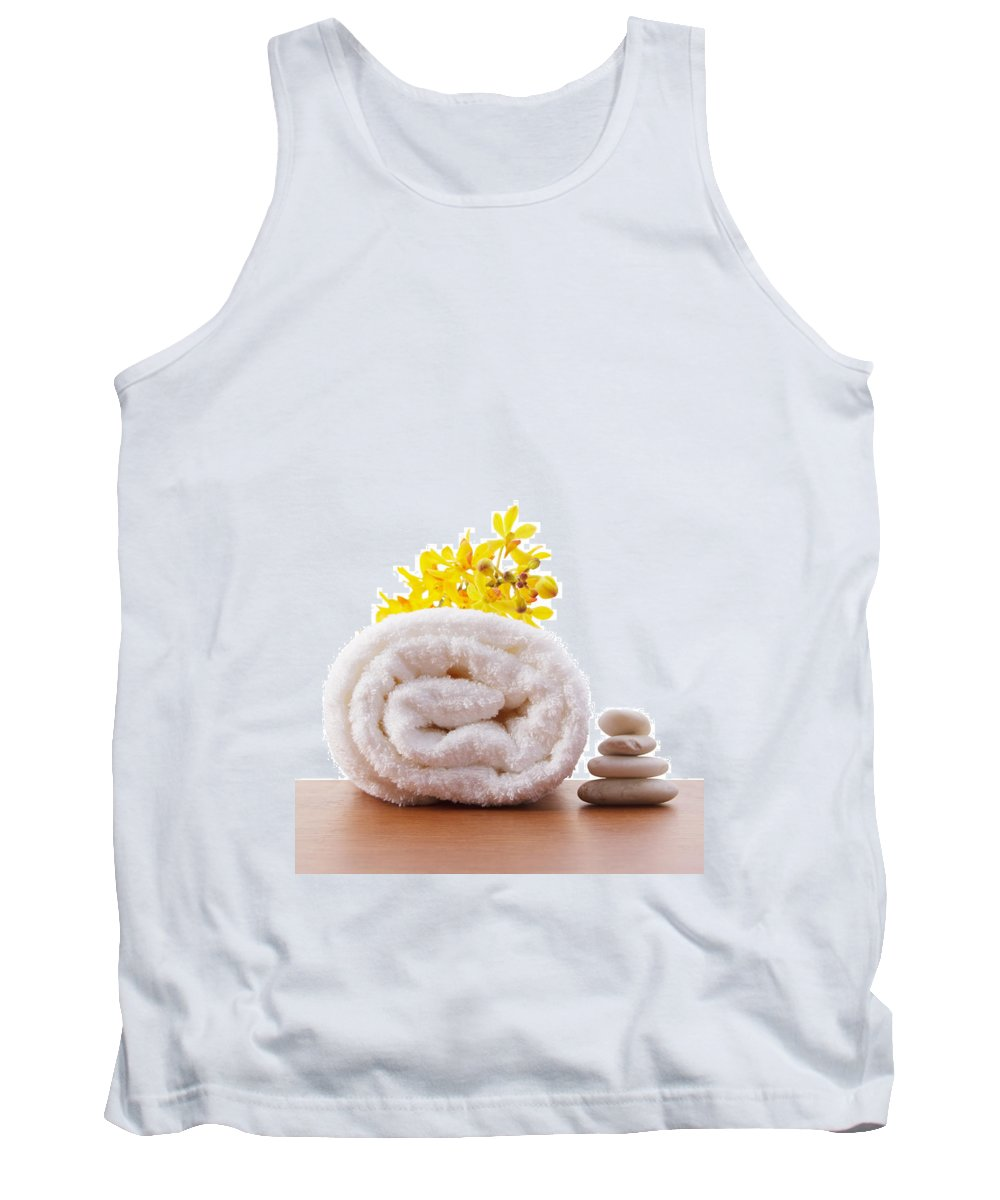Spa-treatment Tank Top featuring the photograph Towel Roll by Atiketta Sangasaeng