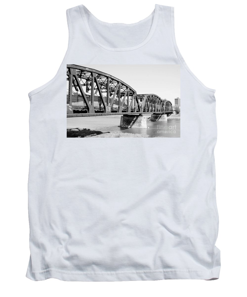 Train Across Bridge Tank Top featuring the photograph Train Across Bridge by Melody Jones