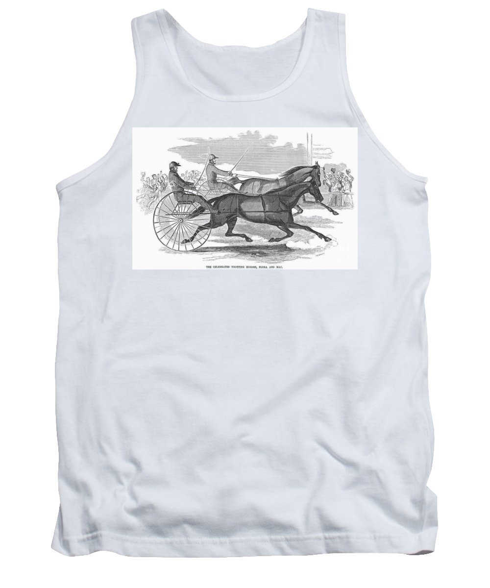 1854 Tank Top featuring the photograph Trotting Horses, 1854 by Granger