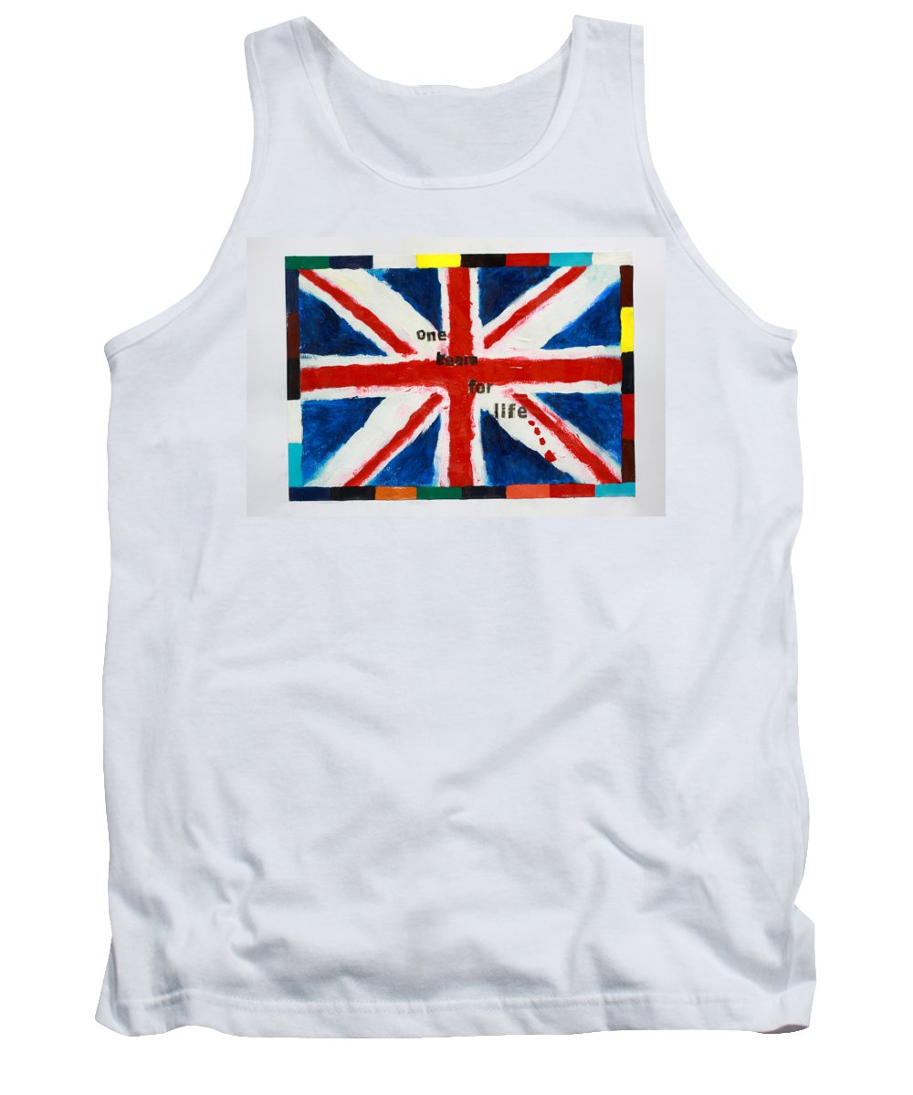 Tank Top featuring the painting Union Jack One Team For Life by Terry Burke