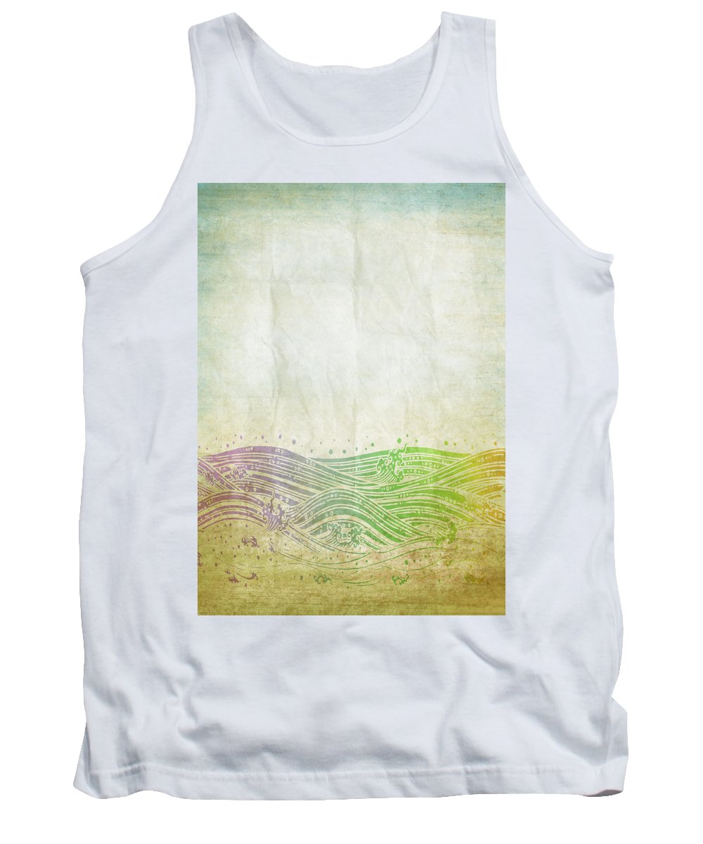 Abstract Tank Top featuring the digital art Water Pattern On Old Paper by Setsiri Silapasuwanchai