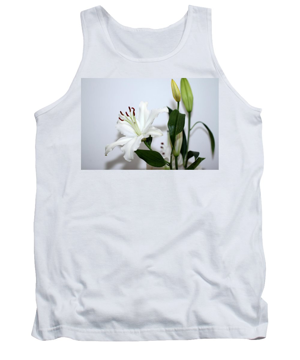 Lily Tank Top featuring the photograph White Lily With Buds by Carole-Anne Fooks