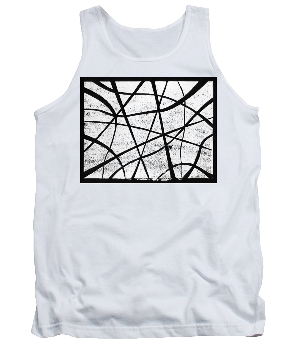 Linocut Tank Top featuring the painting White On Black by Hakon Soreide