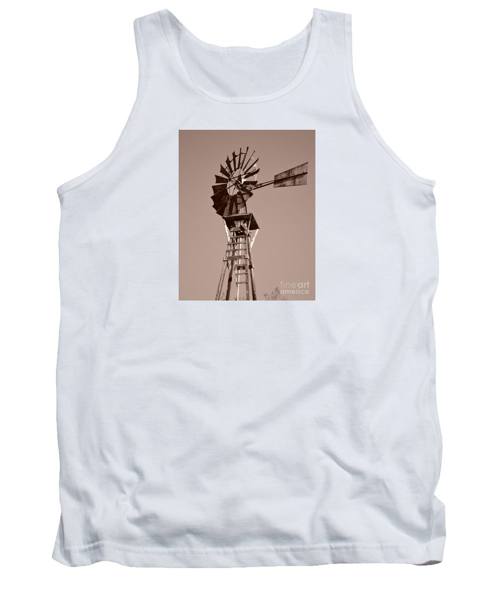 Windmill Tank Top featuring the photograph Windmill Sepia by Rebecca Margraf