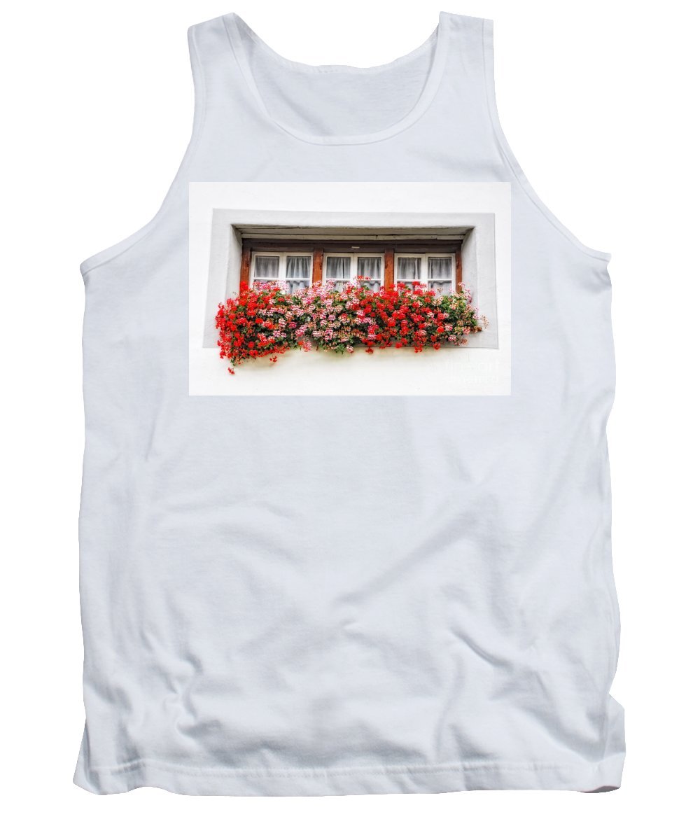 Window Tank Top featuring the photograph Windows With Red Flowers by Mats Silvan