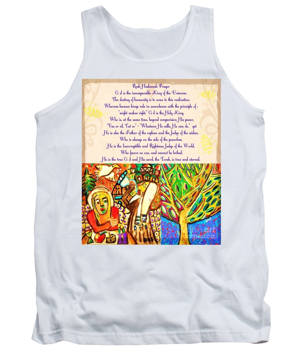 Tank Top featuring the painting x Judaica Prayer For Rosh Hashanah by Sandra Silberzweig