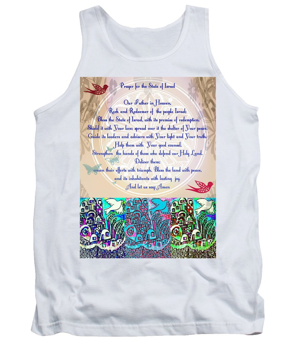 Tank Top featuring the painting x Judaica Prayer For The State Of Israel by Sandra Silberzweig
