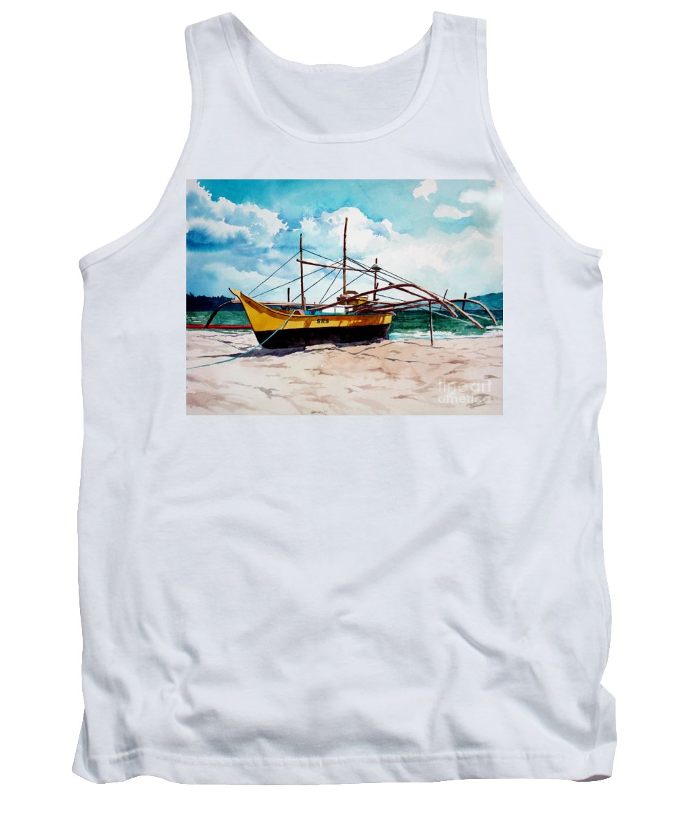 Boat Tank Top featuring the painting Yellow Boat Docking On The Shore by Christopher Shellhammer