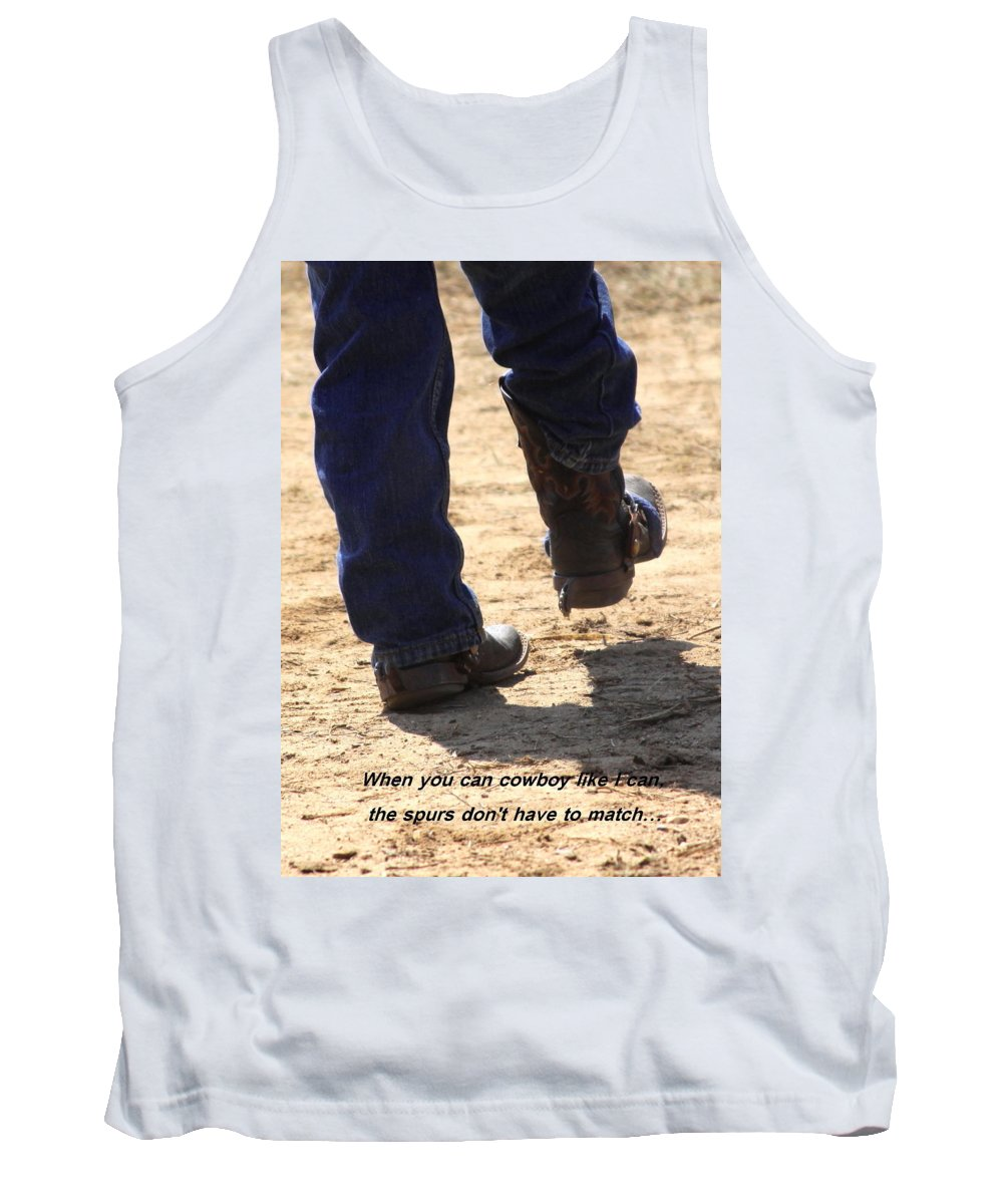 Spurs Tank Top featuring the photograph Young Cowboy With Spurs by Travis Truelove