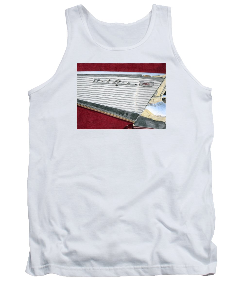 Classic Tank Top featuring the drawing 1957 Chevrolet Bel Air Convertible by Rob De Vries