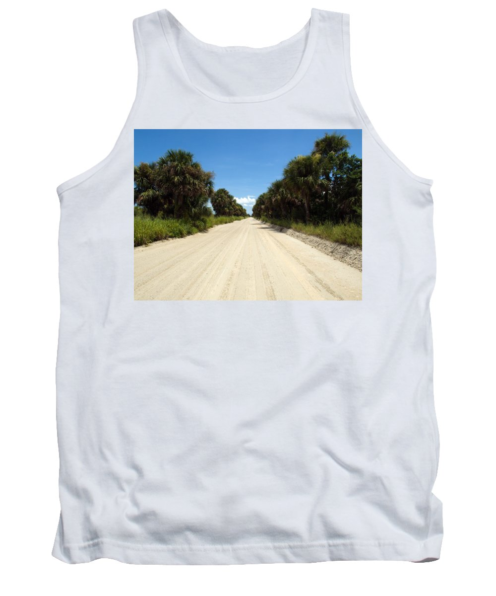 Florida; Road; Back; Backroad; Central; Dirt; Plow; Plowed; Clay; Mud; Muddy; Places; Unknown; Trave Tank Top featuring the photograph Back Road In Central Florida. by Allan Hughes