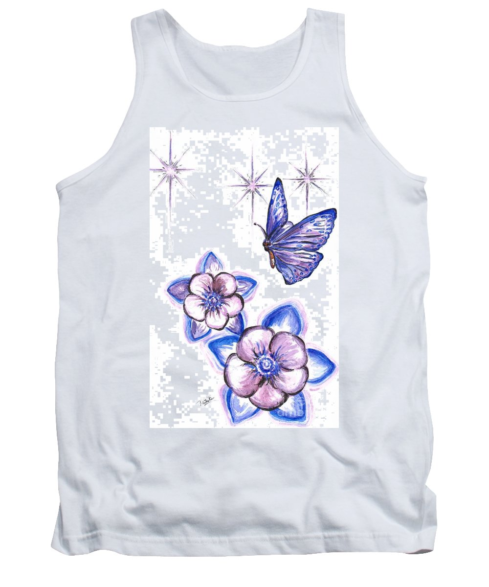 Teresa White Tank Top featuring the painting Butterfly Amongst The Flowers by Teresa White
