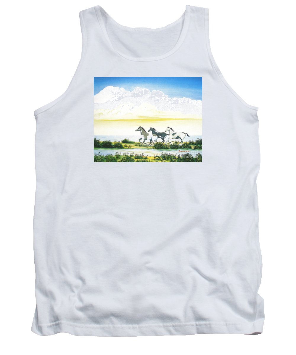 Chincoteague Tank Top featuring the painting Indian Ponies by Jerome Stumphauzer