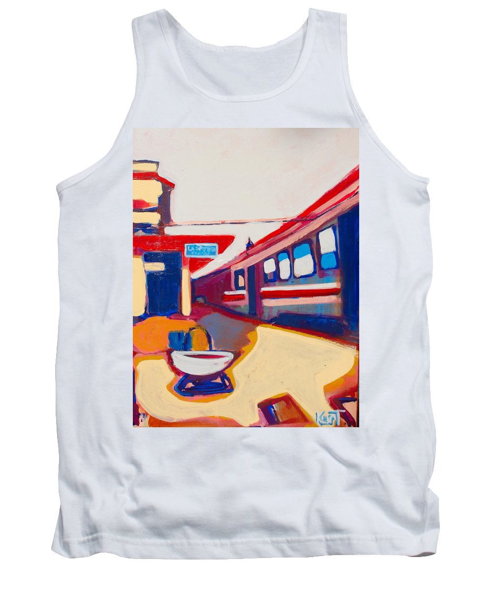 Train Station Tank Top featuring the painting Locale by Kurt Hausmann