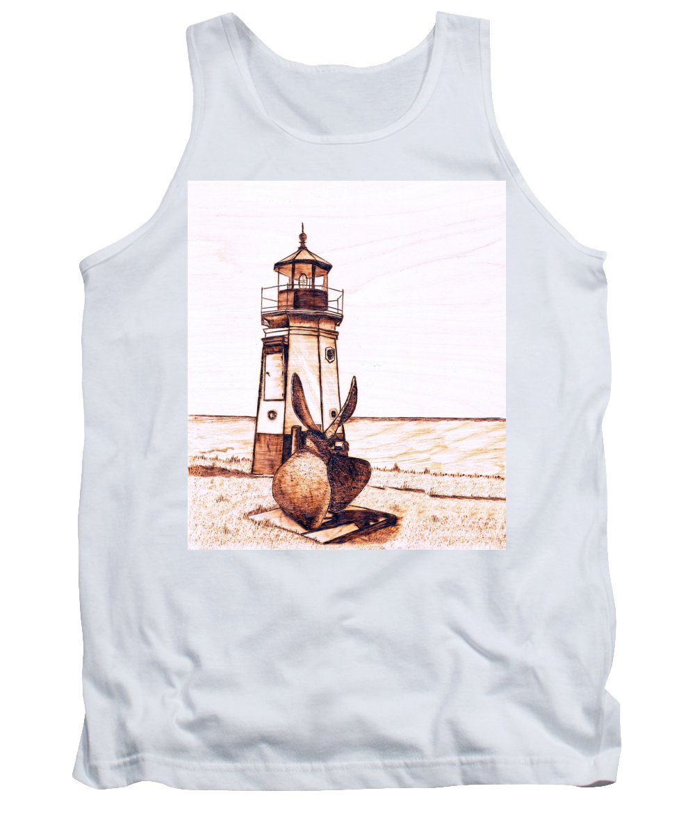 Lighthouse Tank Top featuring the pyrography Vermilion Lighthouse by Danette Smith
