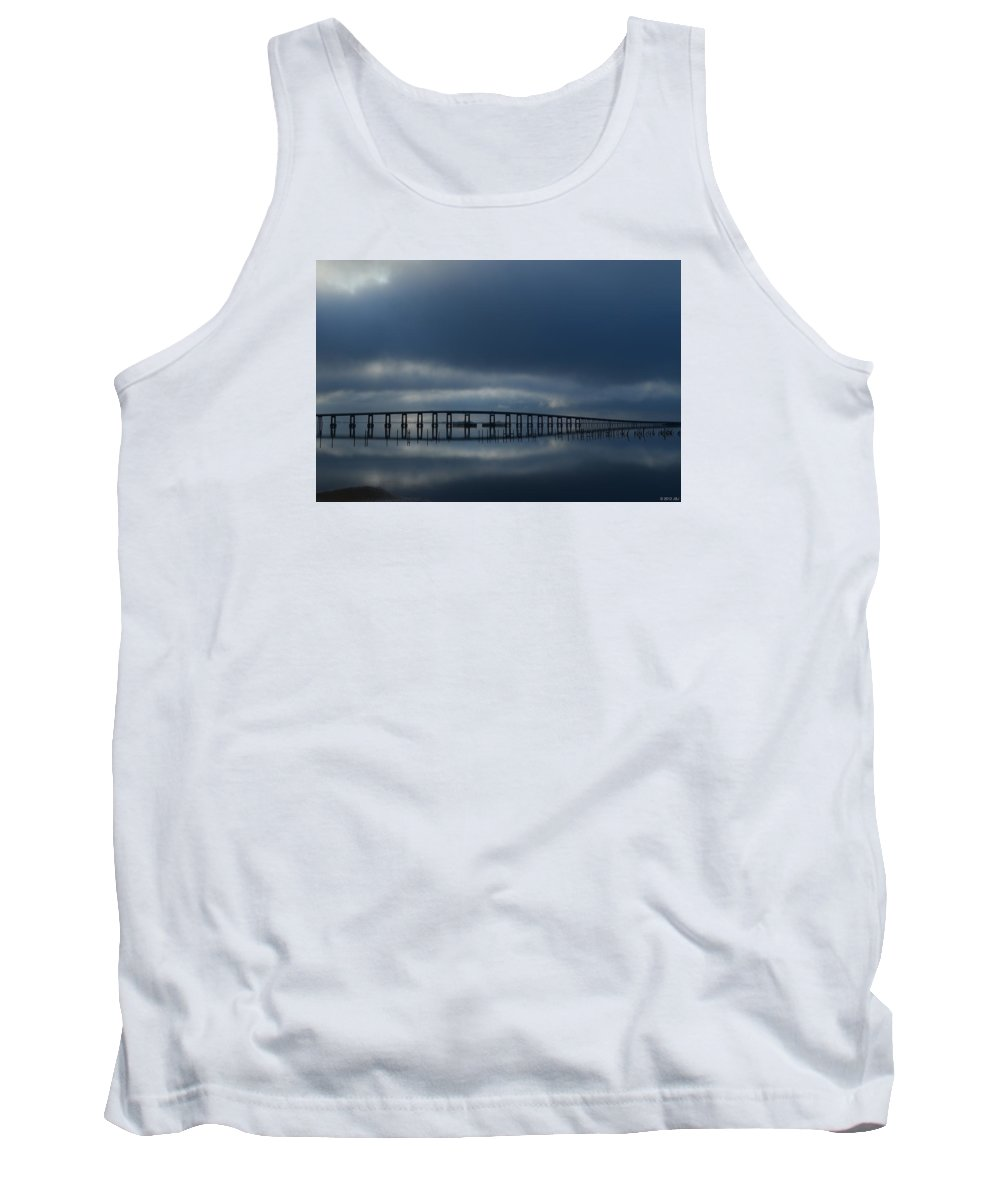 20120203 Tank Top featuring the photograph 0203 Mirrored Navarre Bridge On Sound by Jeff at JSJ Photography