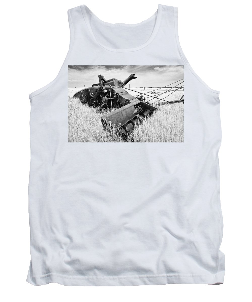 Combine Tank Top featuring the photograph Abondoned Combine In Tall Grass by Donald Erickson