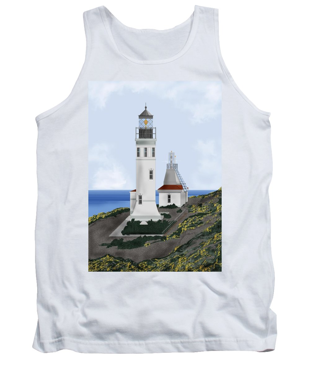 Lighthouse Tank Top featuring the painting Anacapa Lighthouse California by Anne Norskog