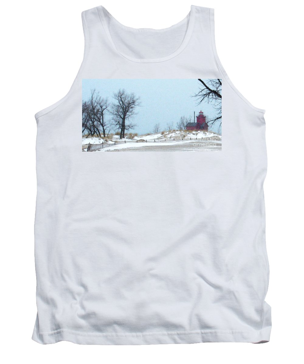 Lighthouse Tank Top featuring the photograph Big Red Lighthouse - View 1 by Linda Shafer
