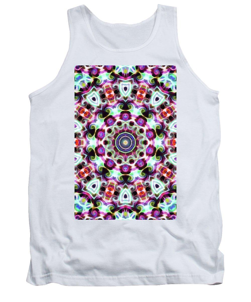 Mandala Art Tank Top featuring the painting Bloom by Jeelan Clark