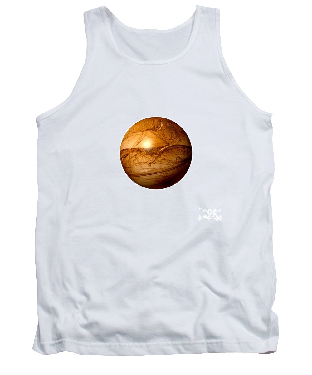 Background Tank Top featuring the digital art Brown Abstract Globe by Henrik Lehnerer