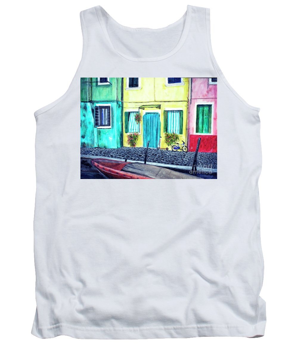 Timothy Hacker Tank Top featuring the painting Burano Bike by Timothy Hacker