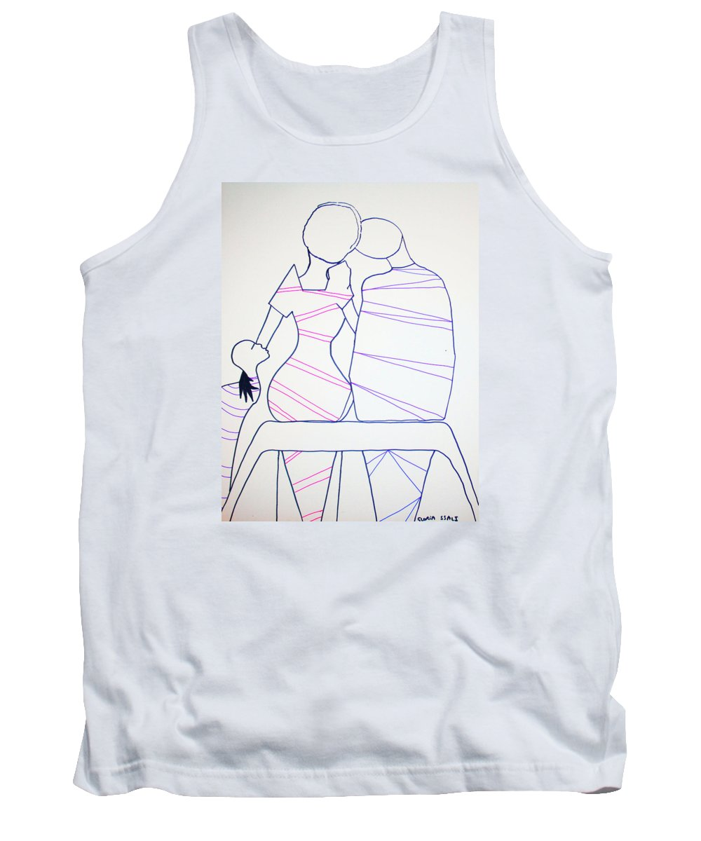 Jesus Tank Top featuring the painting Bus Stop Blues by Gloria Ssali