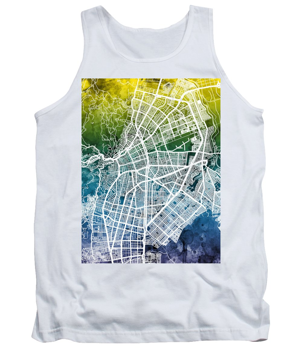 Cali Tank Top featuring the digital art Cali Colombia City Map by Michael Tompsett